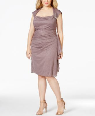R & M Richards Plus Size Ruched Glitter Chiffon Dress