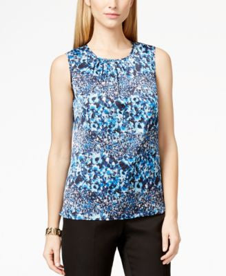 Tahari ASL Sleeveless Pleat-Neck Printed Top