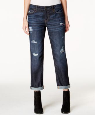 Tommy Hilfiger Ripped Flannel Inset Boyfriend Jeans, Dark Wash