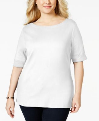 Karen Scott Plus Size Elbow-Sleeve Boat-Neck Top, Only at Vogily