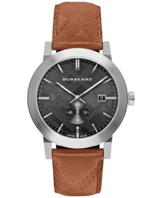 Burberry Men's Swiss Chronograph The City Brown Leather Strap Timepiece 42mm BU9905