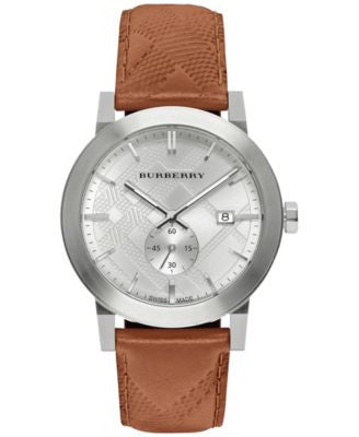 Burberry Men's Swiss Chronograph The City Brown Leather Strap Timepiece 42mm BU9904