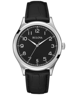 Bulova Men's Black Leather Strap Watch 40mm 96B233