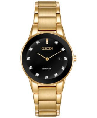 Citizen Women's Eco-Drive Diamond Accent Gold-Tone Stainless Steel Bracelet Watch 30mm GA1052-55G, O