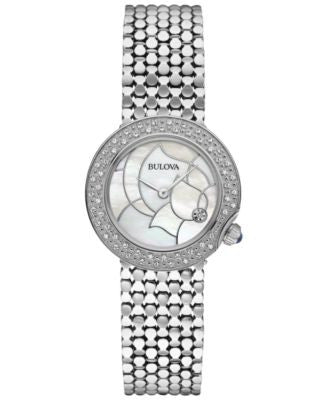 Bulova Women's Diamond Accent Stainless Steel Bracelet Watch 28mm 96R209 - A Vogily Exclusive