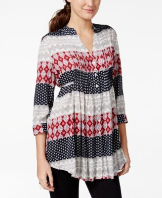 American Rag Printed Pintucked Button-Front Blouse, Only at Vogily
