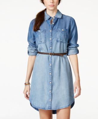 American Rag Denim High-Low Shirtdress, Only at Vogily