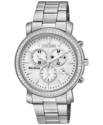 Citizen Women's Chronograph Eco-Drive Stainless Steel Bracelet Watch 41mm FB1410-58A
