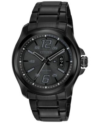 Citizen Men's Eco-Drive Black Ion-Plated Stainless Steel Bracelet Watch 43mm AW1354-82E