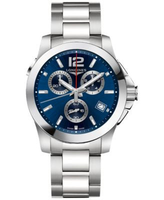 Longines Men's Swiss Chronograph Conquest Stainless Steel Bracelet Watch 41mm L37024966