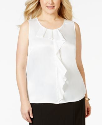 Kasper Plus Size Ruffle-Trim Satin Blouse