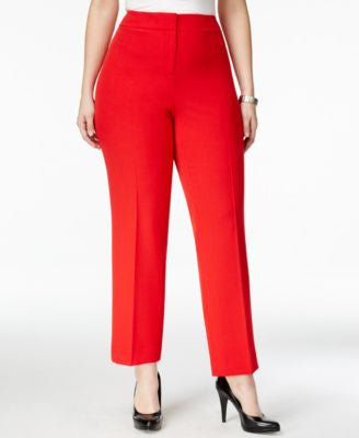 Kasper Plus Size Straight-Leg Denim Trousers