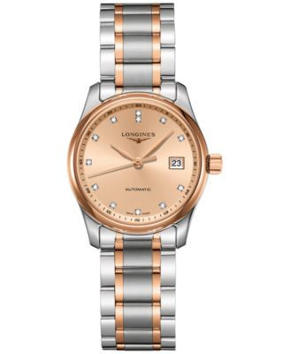 Longines Women's Swiss Automatic The Longines Master Collection Diamond Accent 18k Gold-Plated and S