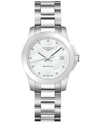 Longines Women's Swiss Conquest Diamond Accent Stainless Steel Bracelet Watch 34mm L33774876