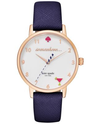 kate spade new york Women's Navy Leather Strap Watch 34mm KSW1040