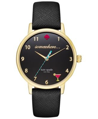 kate spade new york Women's Black Leather Strap Watch 34mm KSW1039