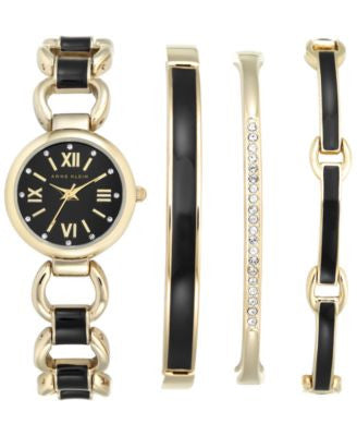 Anne Klein Women's Interchangeable Gold-Tone Bangle Bracelets 24mm AK-1982BKST