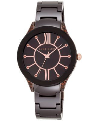 Anne Klein Women's Rose Gold-Tone Brown Ceramic Bracelet Watch 36mm AK-1673BNBN
