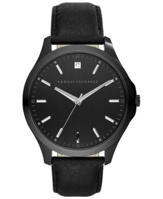 A|X Armani Exchange Men's Diamond Accent Black Leather Strap Watch 46mm AX2171