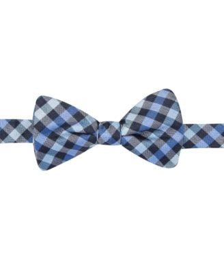 Countess Mara Navy Gingham Pre-Tied Bow Tie