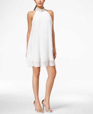 Jessica Howard Embellished Mock-Turtleneck Tiered Shift Dress