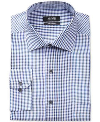 Alfani Classic-Fit Performance Blue Optic Check Dress Shirt, Only at Vogily