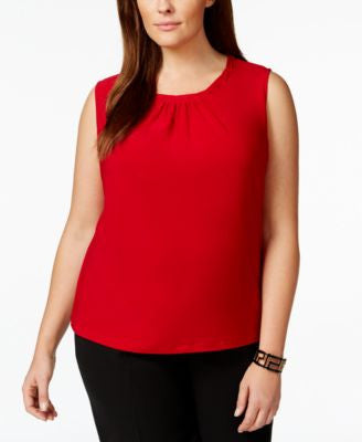 Tahari ASL Plus Size Sleeveless Pleat-Neck Top