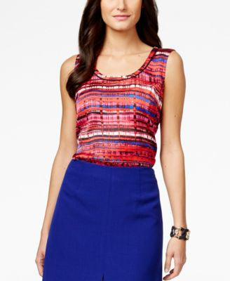 Kasper Sleeveless Graphic-Print Top