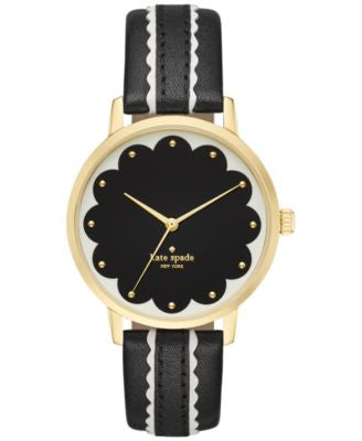 kate spade new york Women's Metro Black & White Leather Strap Watch 34mm KSW1001