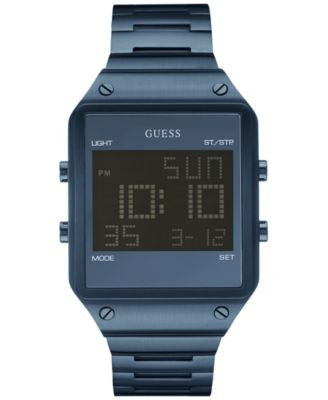 GUESS Men's Digital Blue Ion-Plated Stainless Steel Bracelet Watch 55x38mm U0596G4