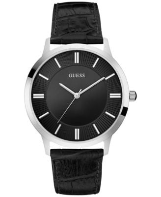 GUESS Men's Black Leather Strap Watch 43mm U0664G1