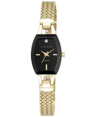 Anne Klein Women's Black Gold-Tone Mesh Bracelet Watch 19mm AK/2184BKGB