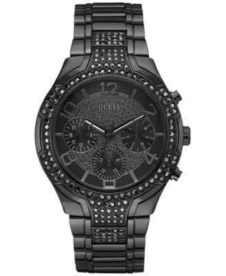 GUESS Women's Crystal Accent Gunmetal Ion-Plated Stainless Steel Bracelet Watch 44mm U0628L5