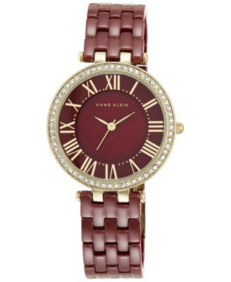 Anne Klein Women's Burgundy Ceramic Bracelet Watch 34mm AK/2130BYGB