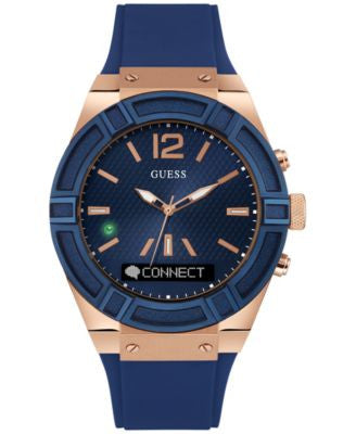 GUESS Men's Analog-Digital Connect Blue Silicone Strap Smartwatch 45mm C0001G1
