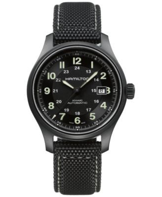 Hamilton Men's Swiss Automatic Khaki Field Black Canvas Strap Watch 42mm H70575733