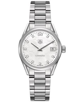 TAG Heuer Women's Swiss Carrera Diamond (1/10 ct. t.w.) Stainless Steel Bracelet Watch 32mm WAR1314.