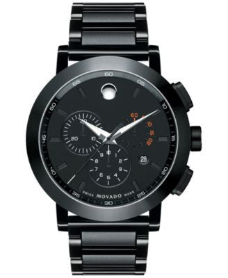 Movado Men's Swiss Chronograph Museum Sport Black PVD Stainless Steel Bracelet Watch 44mm 0607001