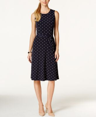 Charter Club Petite Sleeveless Polka-Dot Midi Dress, Only at Vogily