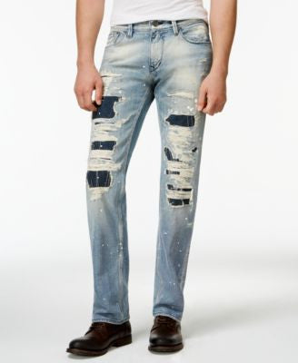 GUESS Men's Straight-Fit Destroyed Jeans