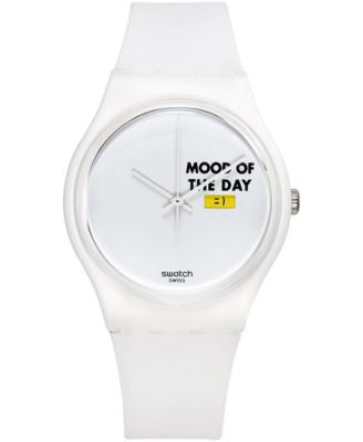 Swatch Unisex Swiss MOOD BOARD White Silicone Strap Watch 34mm GW706
