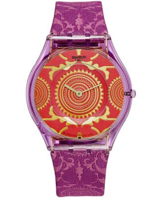Swatch Unisex Swiss SHANTARAM Purple Fabric Strap Watch 34mm SFV109