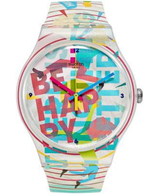 Swatch Unisex Swiss GO HAPPY Multicolor Silicone Strap Watch 41mm SUOZ196