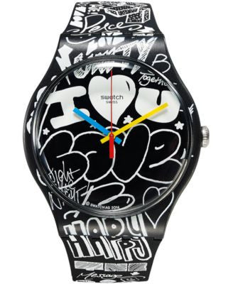 Swatch Unisex Swiss LOVE WALL Black & White Silicone Strap Watch 41mm SUOB125