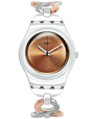 Swatch Women's Swiss Charm Two-Tone PVD Stainless Steel Bracelet Watch 35mm YLS183G