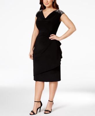 Alex Evenings Plus Size Embellished Draped Sheath Dress