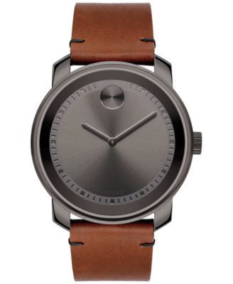 Movado Men's Swiss Bold Rustic Brown Leather Strap Watch 43mm 3600366