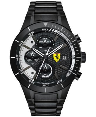 Scuderia Ferrari Men's Chronograph RedRev Evo Black Ion-Plated Bracelet Watch 46mm 0830267