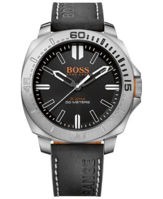 BOSS Orange Men's Sao Paulo Black Leather Strap Watch 46mm 1513295