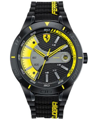 Scuderia Ferrari Men's RedRev Evo Black Silicone Strap Watch 46mm 0830266